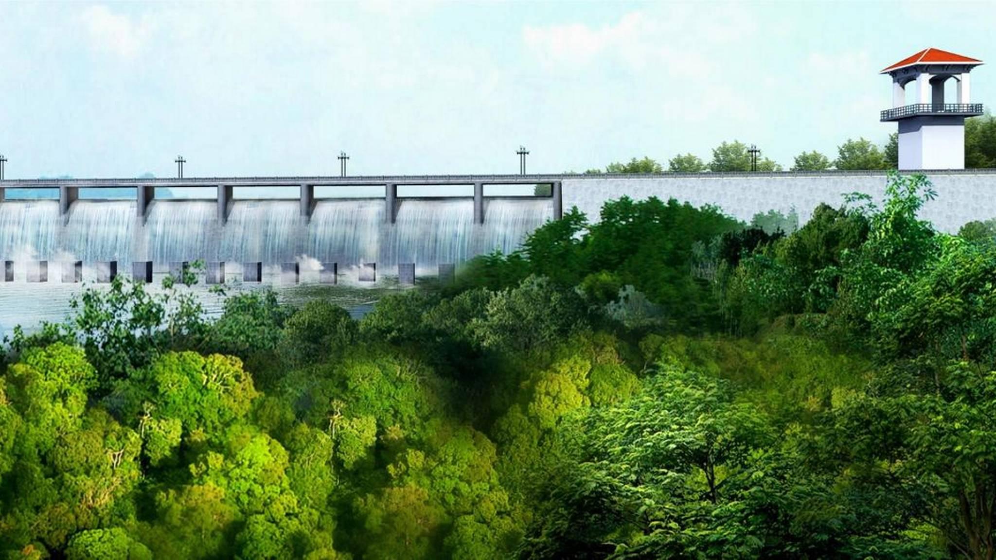 Illustrasjon av hvordan Amaila falls-dammen er planlagt bygd.